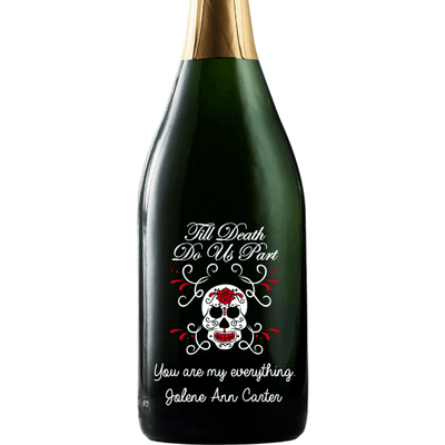 Til Death Do Us Part with skull and roses custom etched champagne bottle wedding favor by Etching Expressions