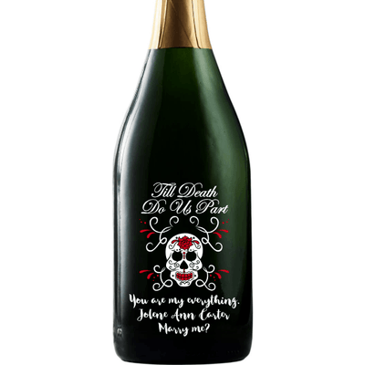 Til Death Do Us Part with skull and roses personalized engraved champagne bottle wedding favor by Etching Expressions
