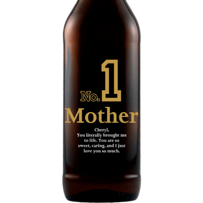 Number 1 Mother custom engraved beer bottle by Etching Expressions