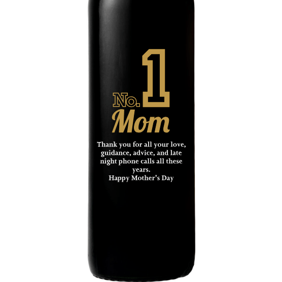 Personalized Red Wine Bottle Gift- Number 1 Mom