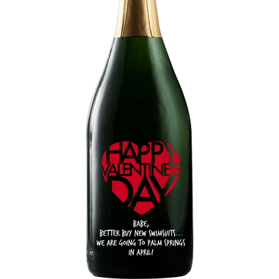 Personalized Etched Champagne Bottle Gift  - Valentines Big Heart