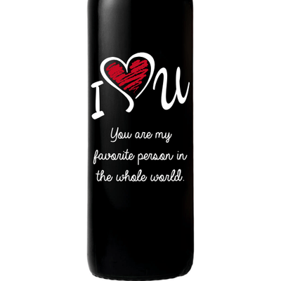 Personalized Red Wine Bottle Gift- I Love You customized design