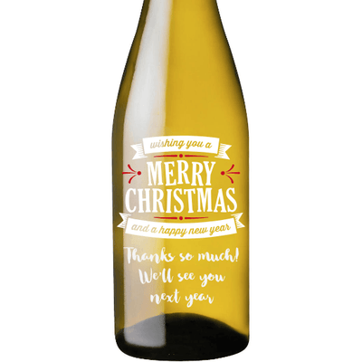 Merry Christmas and a Happy New Year custom engraved holiday white wine bottle by Etching Expressions