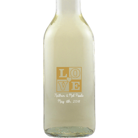 Personalied Mini White Wine Wedding Favors - Love Box Heart Mini