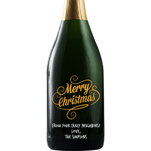Merry Christmas custom etched champagne bottle by Etching Expressions
