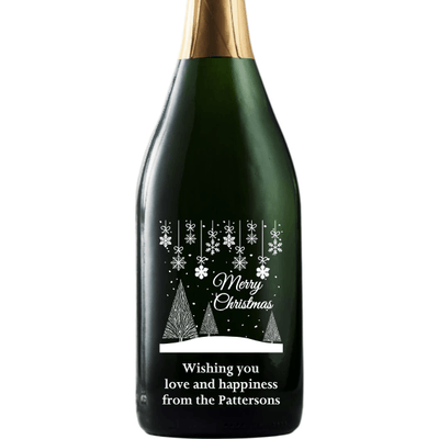 Merry Christmas wintry holiday scene engraved champagne Christmas gift by Etching Expressions