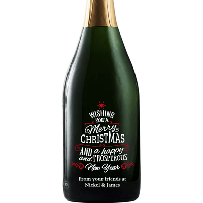 Wishing You a Merry Christmas custom etched champagne bottle by Etching Expressions