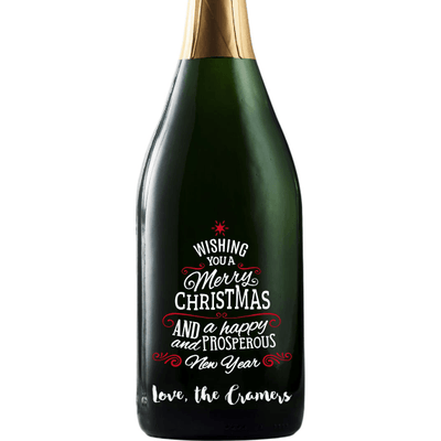 Wishing You a Merry Christmas custom engraved champagne bottle by Etching Expressions