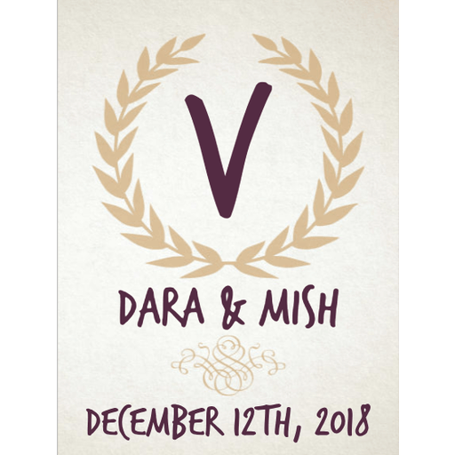 Monogram inital with gold laurel wreath custom labeled wine wedding gift by Etching Expressions