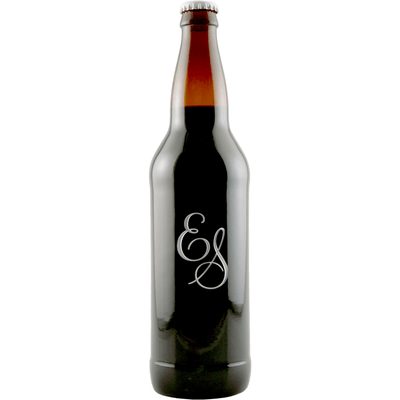 monogram engraved beer bottle by Etching Expressions