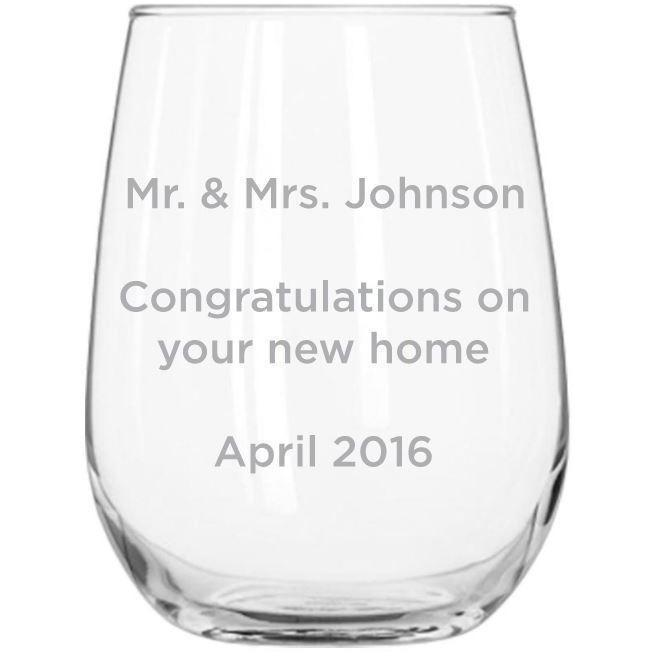 Stemless Wine Glass - Custom Text