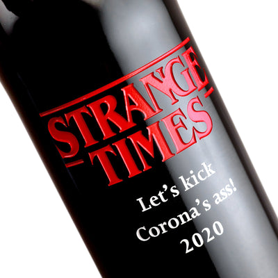 Custom etched red wine - Strange Times design detail