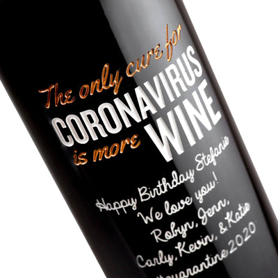 Custom etched red wine - The Only Cure is More Wine design detail