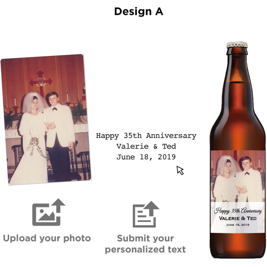 Custom labeled beer bottle with your uploaded photo by Etching Expressions