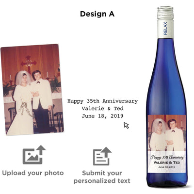 Personalized wine label on moscato- Upload your Photo for an any occasion gift