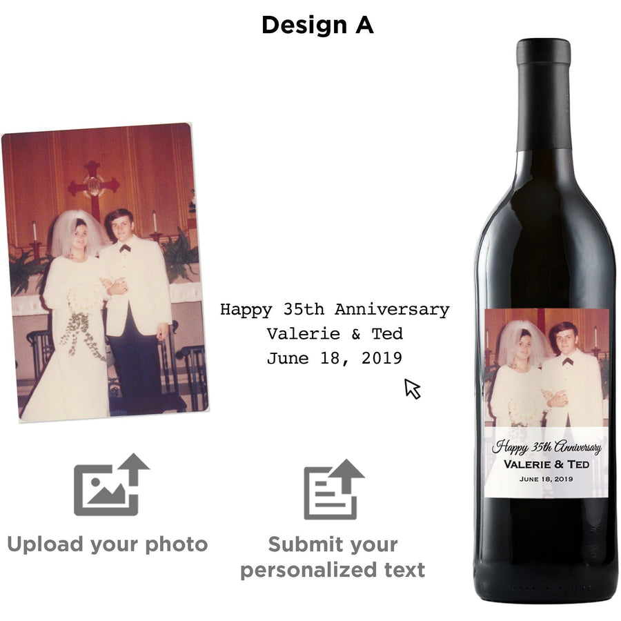 Upload Your Own Photo custom label on wine bottle by Etching Expressions