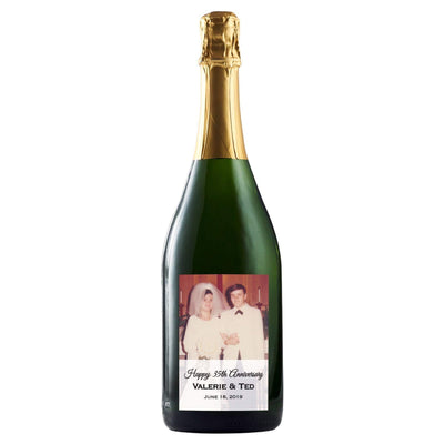 Personalized label on champagne - Upload your Photo on champagne bottle by Etching Expressions