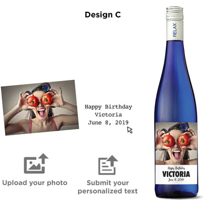 Personalized wine label on blue wine bottle - Upload your Photo for the perfect gift