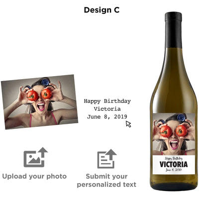 Personalized wine label on white wine - Upload your Photo for an any occasion gift
