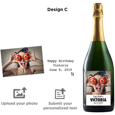 Personalized photo label on champagne by Etching Expressions