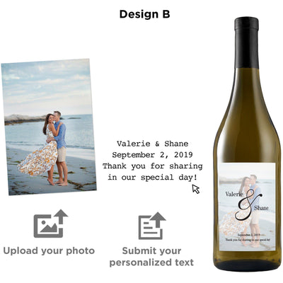 Custom wine label on white wine - Upload your Photo for the perfect gift