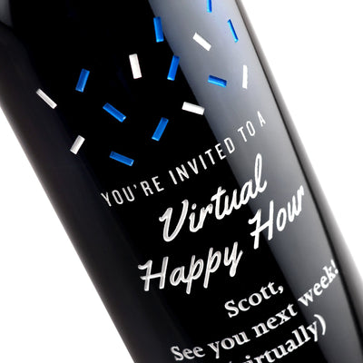 Custom etched red wine - You're Invited to a Virtual Happy Hour design detail