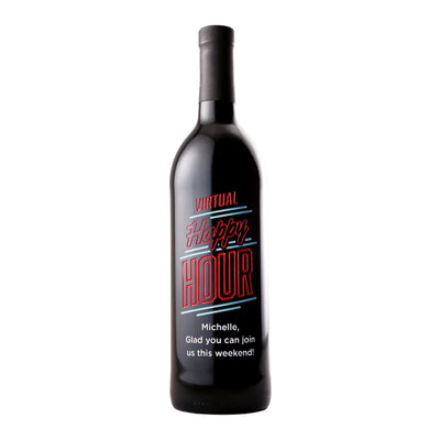 Custom etched red wine - Virtual Happy Hour