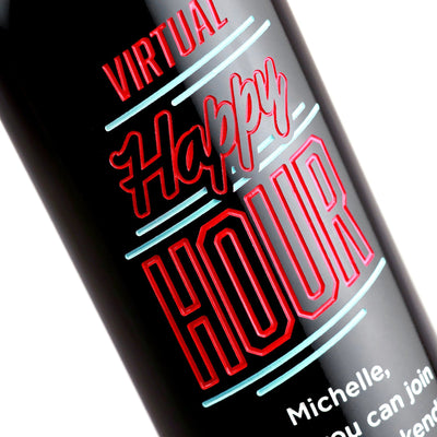 Custom etched red wine - Virtual Happy Hour design detail