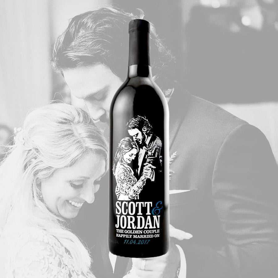 Custom wedding photos engraved on red wine by Etching Expressions