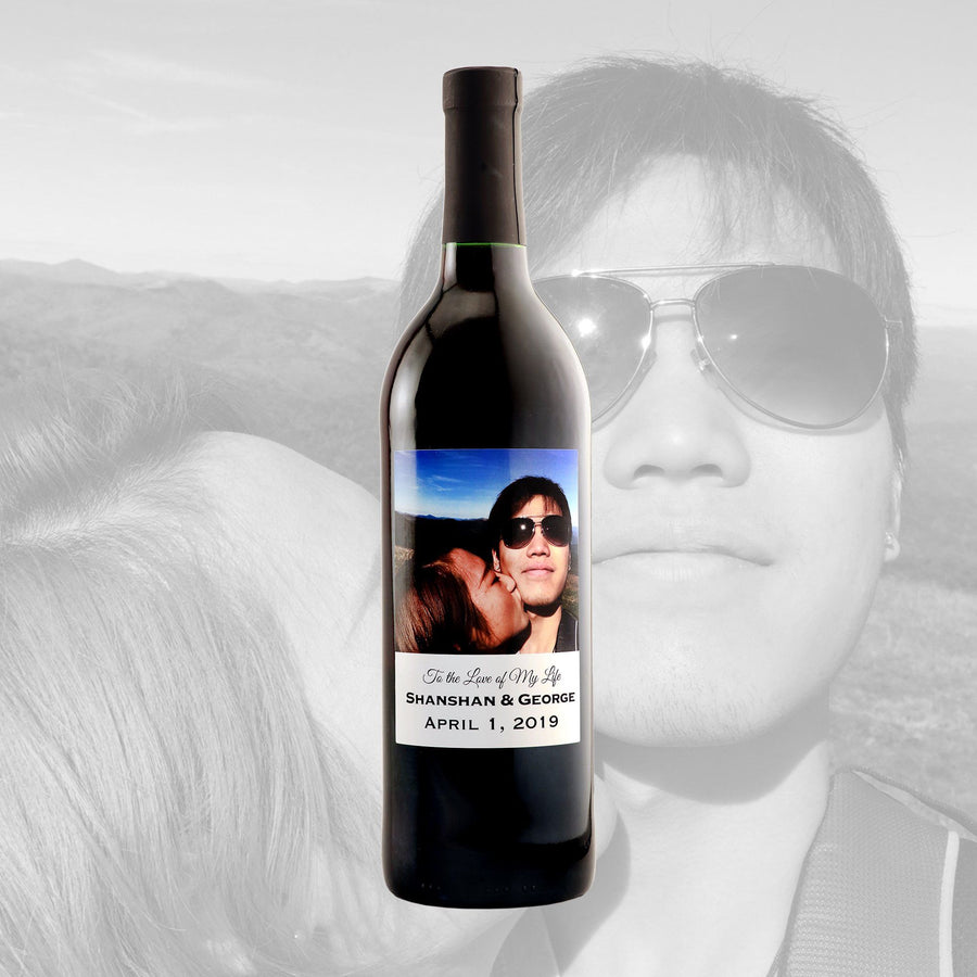 Red Wine - Custom Label with your Wedding Photo!