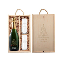 Personalized champagne holiday gift set with starry tree design with glassware