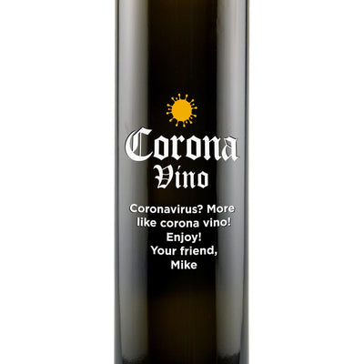 """Corona-vino"" engraved olive oil bottle zoomed view by Etching Expressions"