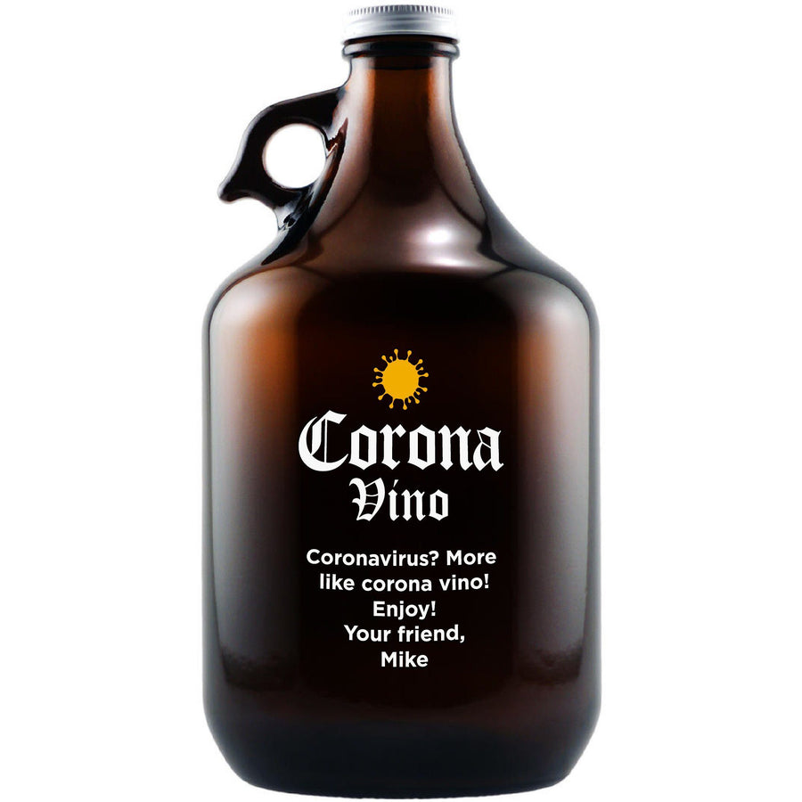 """Corona-vino"" engraved beer growler by Etching Expressions"