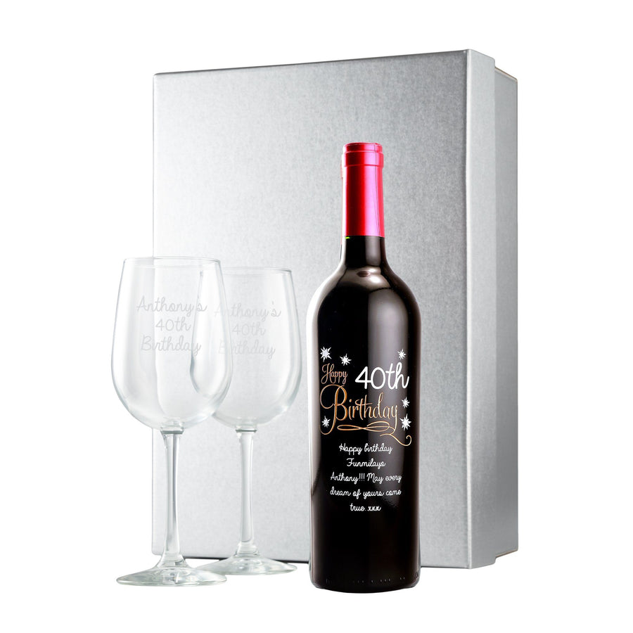 Custom etched wine bottle and engraved wine glass birthday gift set by Etching Expressions