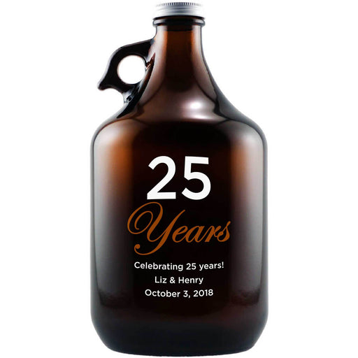 25 Years etched custom beer growler anniversary gift by Etching Expressions