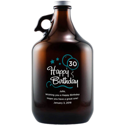 Happy 30th Birthday with blue balloons personalized engraved beer growler birthday gift by Etching Expressions