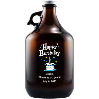 Happy Birthday Cake personalized beer growler etched birthday gift by Etching Expressions