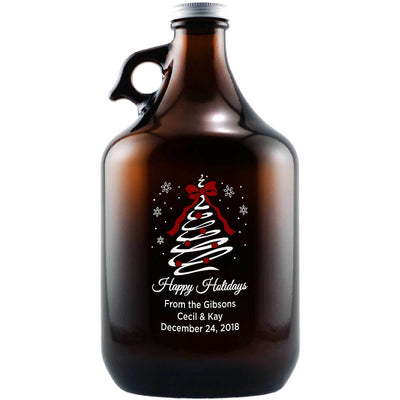 Happy Holidays Christmas Tree Swirl etched personalized beer growler bottle by Etching Expressions