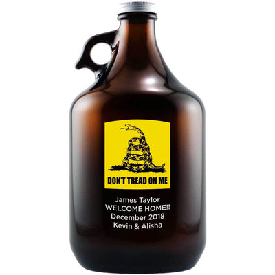 Don't Tread On Me Gadsden flag custom etched beer growler by Etching Expressions