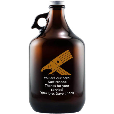 Eagle design personalized beer growler military gift by Etching Expressions