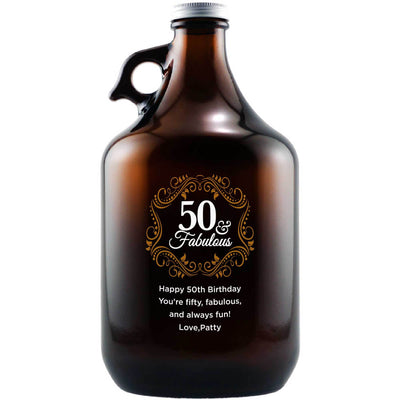 Fifty and Fabulous with golden filigree elegant custom beer growler fiftieth birthday gift by Etching Expressions