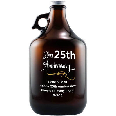 Happy 25th Anniversary engraved personalized beer growler gift by Etching Expressions
