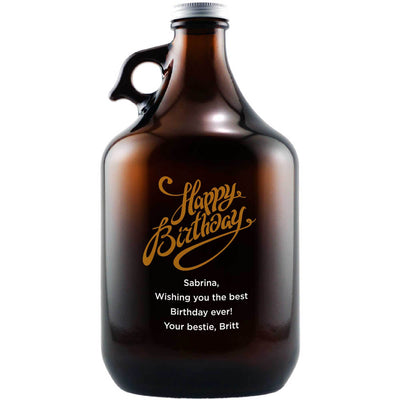 Happy Birthday in fancy gold script custom etched beer growler birthday gift by Etching Expressions