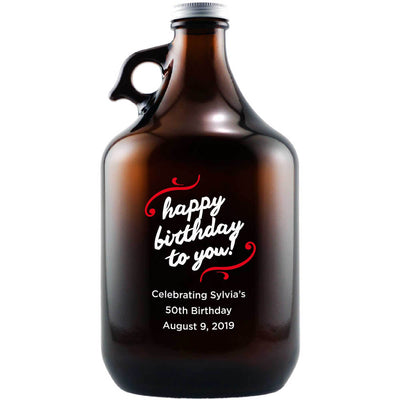 Happy Birthday to You! in a neat script with swirls custom engraved beer growler by Etching Expressions