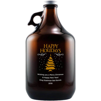 Happy Holidays Christmas Tree design on custom engraved beer growler by Etching Expressions