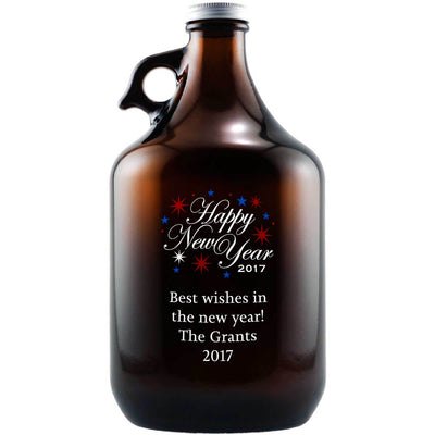 Happy New Year fireworks engraved custom beer growler by Etching Expressions