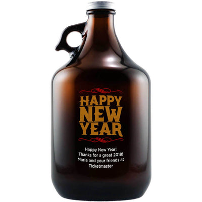 Happy New Year custom beer growler by Etching Expressions