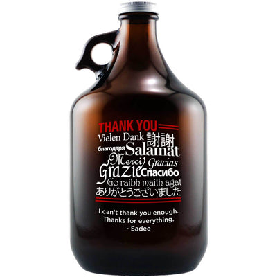 Thank You in multiple languages custom etched beer growler by Etching Expressions