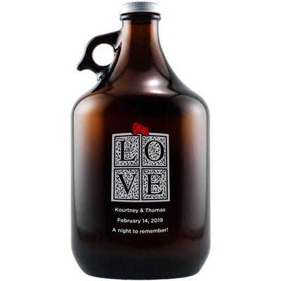 Love gift box design with a red bow custom beer growler gift by Etching Expressions
