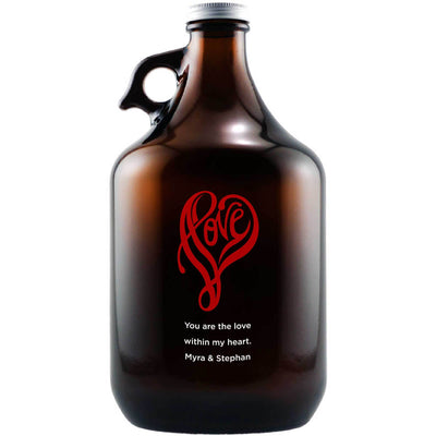 Love heart shape design etched on personalized beer growler by Etching Expressions
